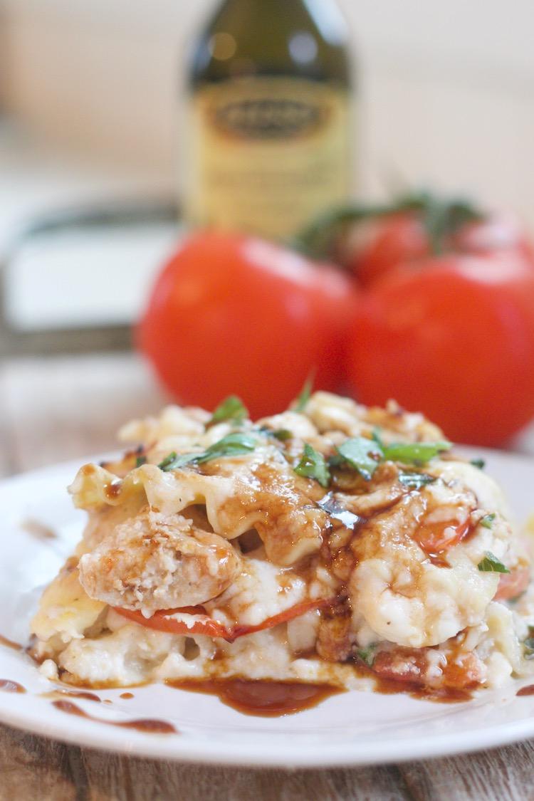 Creamy Chicken Caprese Lasagna